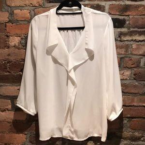 LOFT Tops - LOFT White Flowy blouse L